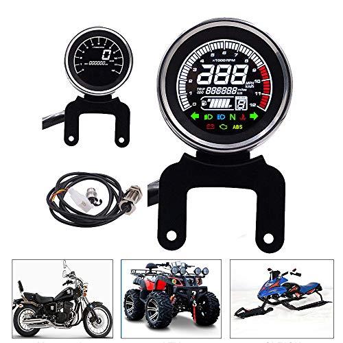 CONRAL Velocímetro Digital LCD para Motocicletas, odómetro Cuentakilómetros Tacómetro para Motorcycle mph/KMH, medidor de Velocidad, para Yamaha, Triumph, Honda, Kawasaki, Harley, KTM, BMW, Du