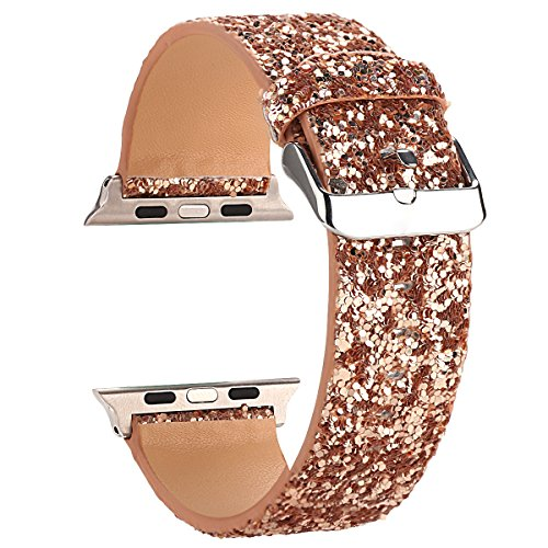 Moonooda Bling Watch Band Compatible with Apple Watch Bands 38mm 40mm 42mm 44mm Cute Women Glitter Sparkle Wristband Girl Smartwatch Band Strap Compatible with Iwatch Series SE 6 5 4 3 2 1, Rose Gold
