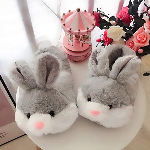 HCBZVN Zapatillas De Algodón Pantuflas Gruesas Zapatillas De Mujer Bonito Animal Conejo Zapatos De Interior para El Hogar Antideslizantes Planas De Invierno Cálidas Zapatillas De Algod -Gris