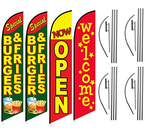 Burgers Fries Now Open Welcome Feather Flag Kit Package for Restaurants. 4 Banner Swooper Flag Kits with Flag Poles and Ground Stakes, Great for Restaurant Food or Hamburger Stand at Carnivals
