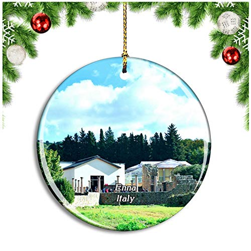 Weekino Enna Italy Villa Romana del Casale Christmas Ornament Xmas Tree Decoration Hanging Pendant Travel Souvenir Collection Double Sided Porcelain 2.85 Inch