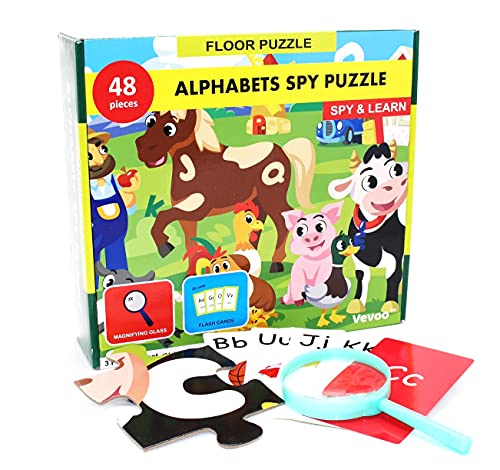 Alphabet spy Puzzle with Flashcards and Magnifying Glass 2ft x 3ft -Large 48 Piece Farm Animals Jigsaw Floor Puzzles for Kids Ages 3-5 – Preschool ABC Learning Resource Gift for Toddlers