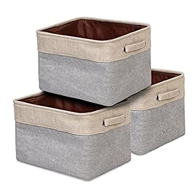 ANNSY Storage Basket Collapsible Organizer Bin 3-pack Foldable Fabric Grey/ Brown Storage Cube Bin with handles for Home and Office