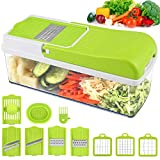 Vegetable Chopper Slicer, Onion Chopper MOICO Food Dicer Veggie Slicer Cutter Cheese Grater With 8 Multi-Functional Interchangeable Blades for Garlic Carrot Potato Tomato Fruit Salad, Mothers Day Gift
