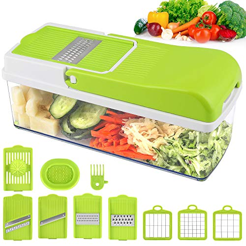Vegetable Chopper Slicer, Onion Chopper MOICO Food Dicer Veggie Slicer Cutter Cheese Grater With 8 Multi-Functional Interchangeable Blades for Garlic Carrot Potato Tomato Fruit Salad