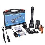 Linterna TrustFire T70 de 2300 lúmenes LED CREE XHP-35HI, IPX8 255g, 1000 metros (1 km de alcance) 1 o 3 modos de uso, Linterna profesional largo alcance pesca, caza, camping (C - Kit 3 completo)