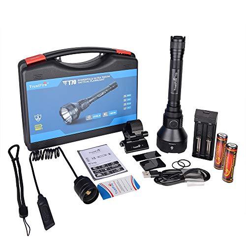 TrustFire T70 Linterna 2300 lúmenes con CREE XHP-35HI LED , IPX8, 1000 metros (1 km de alcance) 1 o 3 modos de uso, Linterna profesional largo alcance pesca, caza, camping (C - Kit 3 completo)