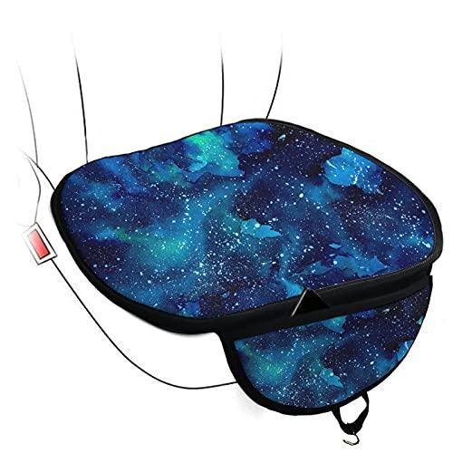 Kuiaobaty 2 fundas de cojín para asiento delantero de coche, diseño de galaxia, color azul con bolsillo pequeño, ajuste universal a la mayoría de vehículos, duradero y transpirable