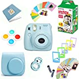 Fujifilm Instax Mini 8 Film Camera (Blue) + Instax Mini Film (20 Shots) + Protective Camera Case + Selfie Lens + Filters + Frames Decorative Design Kit