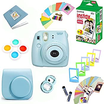 Fujifilm Instax Mini 8 Film Camera  Blue  + Instax Mini Film  20 Shots  + Protective Camera Case + Selfie Lens + Filters + Frames Decorative Design Kit