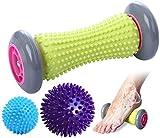 EUKO FußmassageRoller Igelbälle Massageball Fußmassagerollerfür Plantarfasziitis Muskel Roller in verschiedenen Härtegraden 3er Set