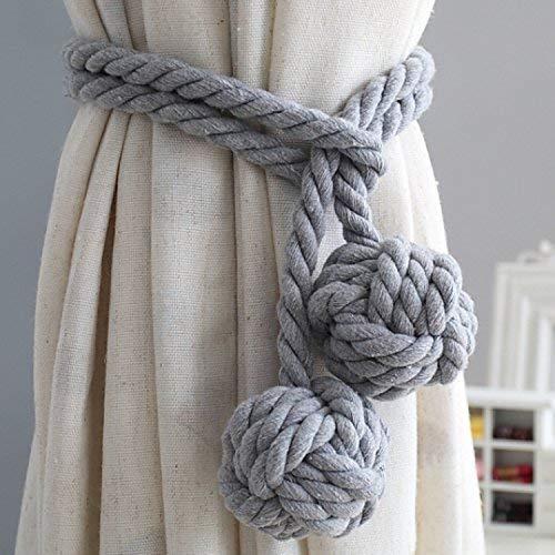 1 par de alzapaños de cortina con 2 pompones de algodón para cortina, cuerda de punto, gancho/pinza / hebilla, doble bola, accesorios de cortina, decoración para dormitorio, casa o oficina