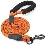 Correa para perros de 1,5 m con cómodo agarre acolchado, fuertes costuras reflectantes de la correa de entrenamiento para seguridad nocturna, adecuada para perros de todos los tamaños (naranja).
