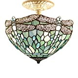 Tiffany Ceiling Fixture Light W12H11 Inch Semi Flush Mount Sea Blue Stained Glass Crystal Bead Dragonfly Lampshade S147 WERFACTORY Lamps Kid Living Room Bedroom Kitchen Island Bar Hallway