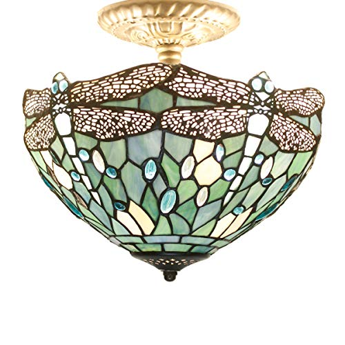 Tiffany Ceiling Fixture Light W12H11 Inch Semi Flush Mount Sea Blue Stained Glass Crystal Bead Dragonfly Lampshade S147 WERFACTORY Lamps Kid Living Room Bedroom Kitchen Island Bar Hallway Dining Room