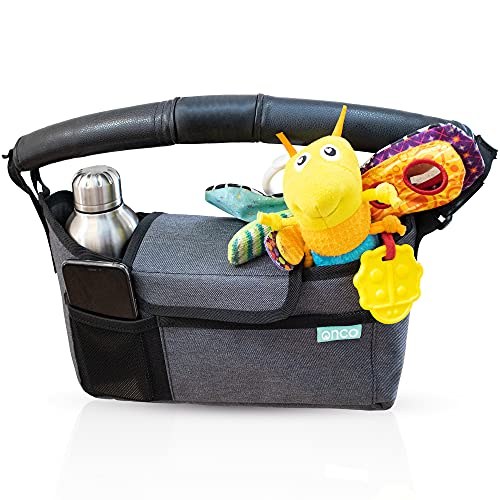 Onco Pram Organiser - Buggy, Pushchair or Stroller Bag for Baby Essentials - Caddy Accessories with Universal Fit and Bottle/Cup Holder - Charcoal Grey