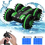 allcaca Waterproof Remote Control Car Boat - 2.4Ghz All Terrain RC Cars - 1/18 Scale Double Sides Stunt Vehicle with 360 Degree Spins and Flips Green