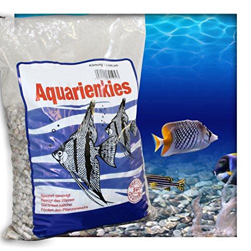 Kieskönig Aquariensand Aquariumsand Bodengrund 5-8 mm Aquarienkies hochrein Naturweiss 15 kg (3 x 5 kg Beutel)