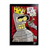 Bender Rodriguez de Futurama (Matt Groening) - Pintura Enmarcado Original, Imagen Pop-Art, Impresin Pster, Impresion en Lienzo, Cuadro, Cmics, Cartel de la Pelcula