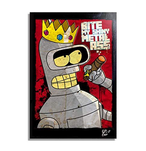 Bender Rodriguez de Futurama (Matt Groening) - Pintura Enmarcado Original, Imagen Pop-Art, Impresion Poster, Impresion en Lienzo, Cuadro, Comics, Cartel de la Pelicula