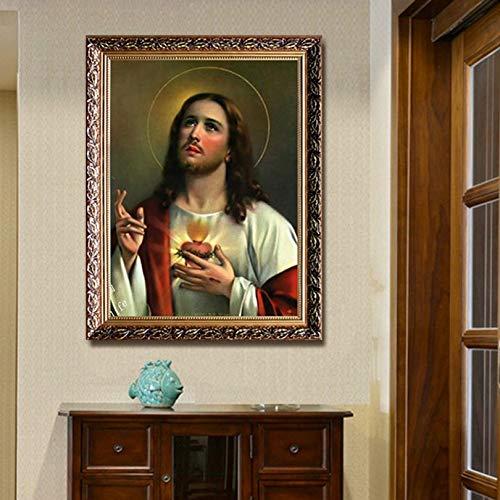 yaoxingfu Heiliges Herz Jesu Bild auf Leinwand Ölgemälde drucken Plakatbild Wandzimmerdekoration Wandbild 50x75cm