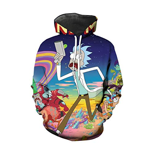 GFQTTY Men 3D Print Hoodie Sweatshirt Rick and Mortys Drawstring Pullover Fashion Casual Womens Clothes -Teen Coat Gift S-6XL,17,5XL