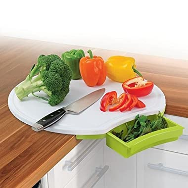 Green Corner Cutting Board With Built-in Drawer