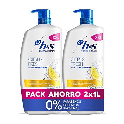 H&S Champú Citrus Fresh Anticaspa Champú Para El Cabello Graso pH equilibrado 2 Champús 1000 ml