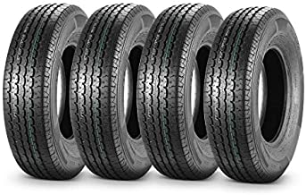 MaxAuto Trailer Tires 225/75R15 10 Ply Load Range E Radial Perfect Tread Pattern for Heavy Duty 15 Inch Rim Travel Tractor Camper Trailers, Set of 4
