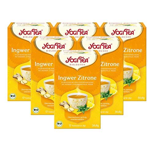 Yogi Tea 6x Ingwer Zitrone Bio Yogi Tee I anregende ayurvedische Tee-Mischung I Bio-Qualität - 6x 17 Teebeutel I Organic Lemon Ginger Tea 6 Päckchen
