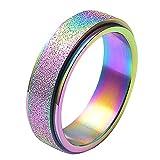 Potctron(ポクトロン)カジュアル 個性的 レディース レインボー カラー ステンレス 指輪