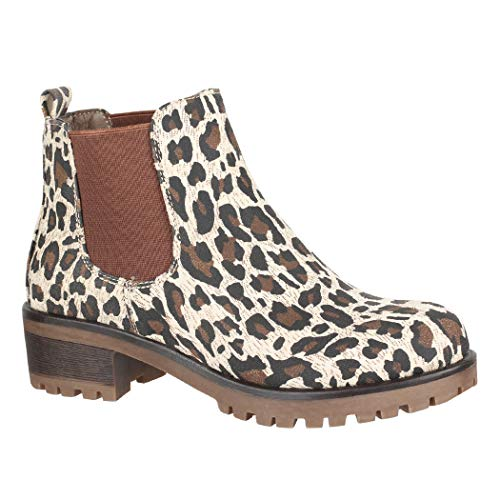 Elara Damen Stiefeletten Chelsea Boots Chunkyrayan KA576sl Leopard-37