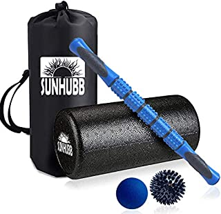 """Foam Roller Set, Includes 12"""" High Density Self-Massage Roller, Muscle Roller Stick, Lacrosse & Spiky Balls & Travel Bag -Physical Therapy and Exercise, Deep Tissue, Pain Relief, Myofascial Release"""
