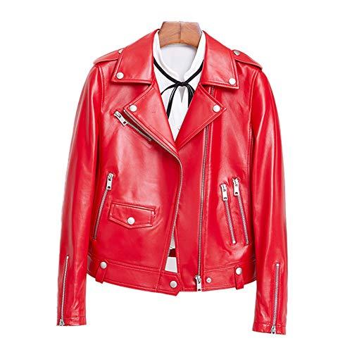 HUIGE Jacken Damen Lederjacke Motorrad Kurzes Asymmetric Zipper Lammfell Biker Kurzmantel Langarm mit Reißverschluss Oberbekleidung,Rot,S