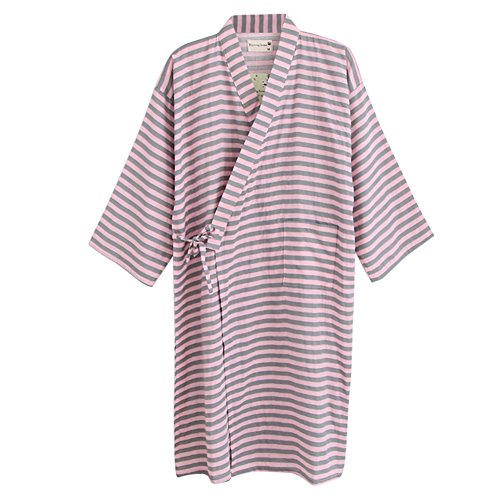 Kimono, pijama a rayas, pijama monocolor, traje de casa, cuello en V, albornoz japonés, bata de noche, para hombre, mujer, sauna, bata corta, bata de sauna, spa, falda para dormir