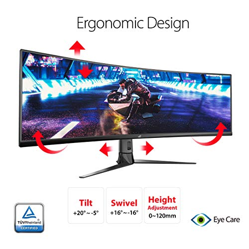 ASUS ROG Strix XG49VQ 124 cm (49 Zoll) Gaming Monitor (Curved, 4K, 144Hz, Free-Sync 2 HDR, HDMI, DisplayPort, 4ms Reaktionszeit)