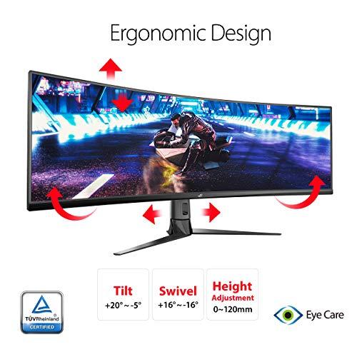 ASUS ROG Strix XG49VQ, Monitor Gaming Ultrapanor谩mico (3840 X 1080P, 144 Hz, Freesync 2 HDR, Displayhdr 400, Dci-P3. 90%, Shadow Boost), 49', Negro