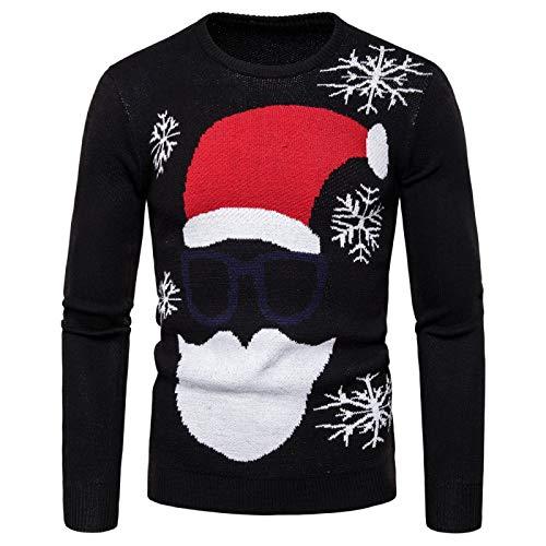 Jersey de Cuello Redondo de Ajuste Regular para Hombre Jersey de Moda Jacquard Santa Claus cálido Jersey de Navidad de Manga Larga Tops Large