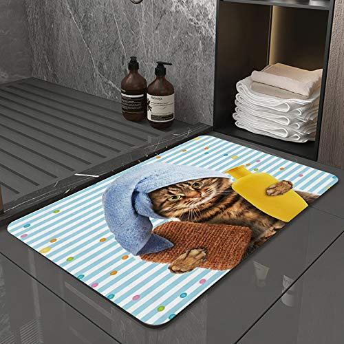 La Alfombra de baño es Suave y cómoda, Absorbente, Antideslizante,Cat Speckle Stripe Telón de Fondo con Lindo Gatito con champú y Accesorios de baño con Apto para baño, Cocina, Dormitorio (40x60 cm)
