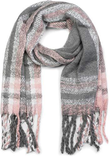 styleBREAKER Uniseks Thick XXL sjaal met streepjes ruitjesmotief en franjes, winterse gebreide sjaal 01017099