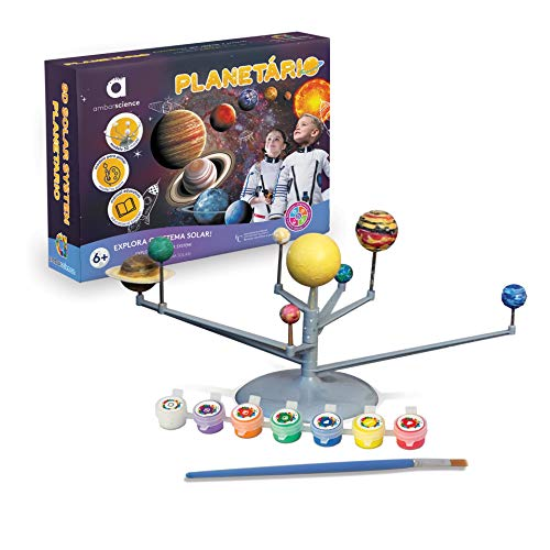 ambarscience- Planetario - Juguete Stem Educativo y DIY para Construir e Pintar el Sistema Solar 3D, para niños 6+. (Ambar Passion S.A. 108000120017)