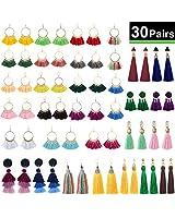 XPCARE 30 Pairs Colorful Tassel Earrings Tassel Long Layered Thread Drop Earrings Bohemian Tassel Earrings Gift Set