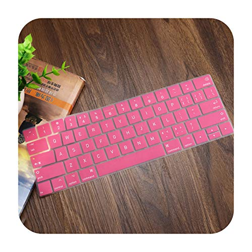 English US Enter Silicone Keyboard Cover Case Skin For New MacBook Pro 13' A1706 A1989 A2159 Pro 15' A1990 A1707 With Touch Bar-Pink