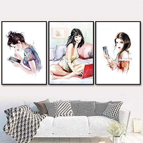 Moderne Vrouwen Mobiele Telefoon Tablet PC Nordic Posters En Prints Muur Canvas Schilderij Muur Foto Woonkamer Decor-40x60cmx3 stks (geen frame)