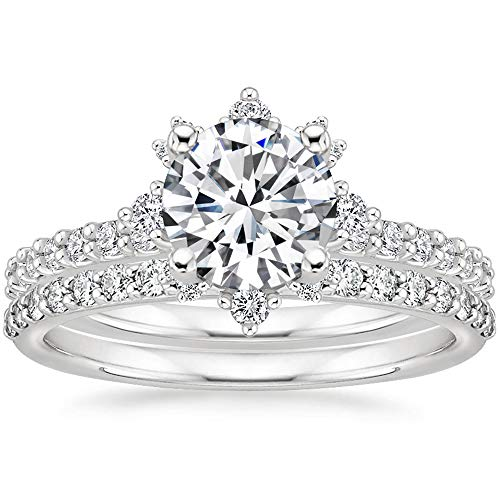 925 Sterling Silver Moissanite Bridal Set Rings for Women, 1-1/2 ct. tw. Moissanite 2-in-1 Wedding Engagement Ring Set, Personalized Custom Name Ring (925 Sterling Silver-Size 7)