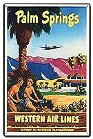 なまけ者雑貨屋 Palm Springs Western Airlines メタルプレート アンティーク な ブリキ の 看板、レトロなヴィンテージ 金属ポスター