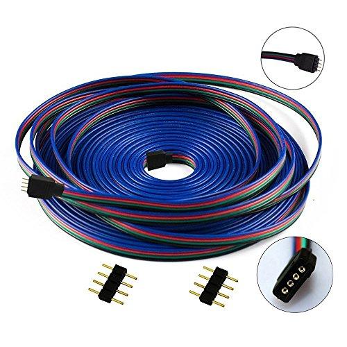 Liwinting 4 Pin 10m RGB Cable de Extensión con Hilos de Cobre Puro Estañados Dentro para SMD 5050 3528 RGB LED Strip Cable del Conectador de la Tira del RGB LED, con 2 Piezas de Conector de 4 Pin