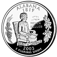 コイン収集 新しいアメリカ合衆国50州の記念硬貨、ヤラバマ、2003,25アメリカ2003、Helen Keller 男の子/女の子/大人向けの記念コインギフトを永遠にタイプ
