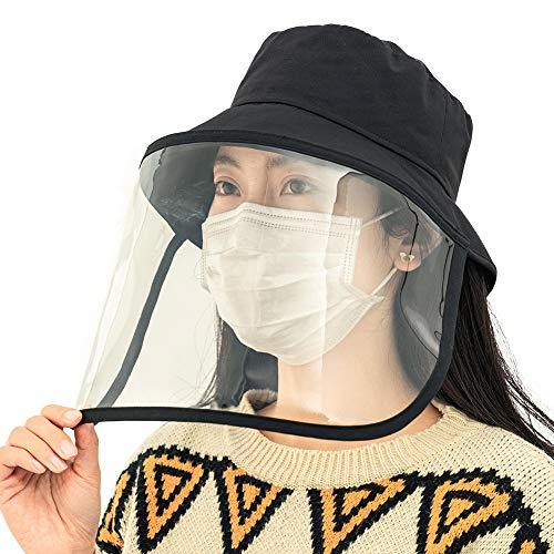 Comhats Facial Protectora Seguridad Gorro para el Sol Protección para los Ojos Aislamiento Sombrero anticontaminación Ajustable Negro