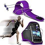 (Violet foncé + écouteur) Asus Zenfone 2 Deluxe ZE551ML intégrée de haute qualité sport Brassards Courir Cyclisme Gym Jogging...